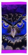 2011 Dreamy Horned Owl Negative Beach Towel