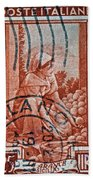 25 Lire Italian Stamp - Milano Cancelled Beach Towel