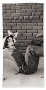 Silent Film Still: Woman Beach Towel