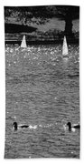 2boats2ducks In Black And White Beach Towel