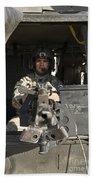 A Uh-60 Black Hawk Door Gunner Manning Beach Towel
