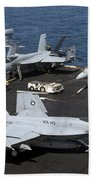 An Fa-18e Super Hornet During Flight Beach Towel
