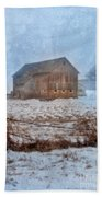 Barn In Winter Beach Towel