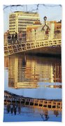 Hapenny Bridge, River Liffey, Dublin Beach Towel