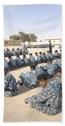 Iraqi Police Cadets Being Trained Beach Towel by Andrew Chittock