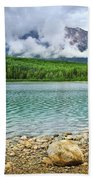 Mountain Lake In Jasper National Park Beach Towel by Elena Elisseeva