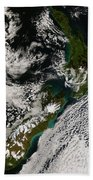 Satellite View Of New Zealand Beach Towel