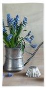Still Life With Grape Hyacinths Beach Sheet