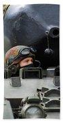 Tank Driver Of A Leopard 1a5 Mbt Beach Towel