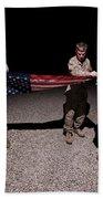 U.s. Marines Fold The American Flag Beach Sheet