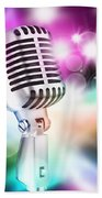 Microphone On Stage Beach Towel by Setsiri Silapasuwanchai