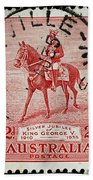 old Australian postage stamp Beach Towel