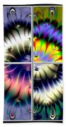 4 Panel Look Hearts Ud Fractal 64 Beach Towel