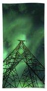 Powerlines And Aurora Borealis Beach Towel by Arild Heitmann