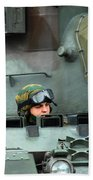 Tank Driver Of A Leopard 1a5 Mbt Beach Towel
