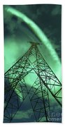 Powerlines And Aurora Borealis Beach Towel by Arild Heitmann
