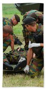 Soldiers Of A Belgian Infantry Unit Beach Towel