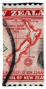 old New Zealand postage stamp Beach Towel