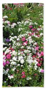 A Bed Of Beautiful Different Color Flowers Beach Towel