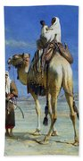 A Bedoueen Family In Wady Mousa Syrian Desert Beach Towel