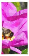 A Bee In A Rose Brpwc Beach Towel