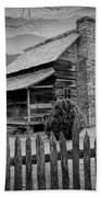 A Black And White Photograph Of An Appalachian Mountain Cabin Beach Towel