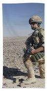 A British Army Soldier On A Foot Patrol Beach Towel