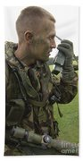 A British Army Soldier Radios Beach Towel by Andrew Chittock