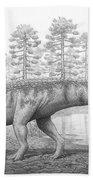A Chirotherium Roams A Prehistoric Era Beach Towel