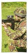 A Coldstream Guard Training In Scotland Beach Towel