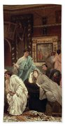 A Collector Of Pictures At The Time Of Augustus Beach Towel by Sir Lawrence Alma-Tadema