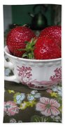 A Cup Of Strawberries Beach Towel