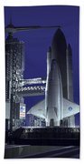 A Futuristic Space Shuttle Awaits Beach Towel by Walter Myers