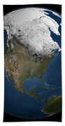 A Global View Over North America Beach Towel