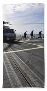 A Helicpter Sits On The Flight Deck Beach Towel