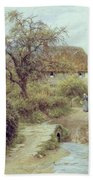 A Hill Farm Symondsbury Dorset Beach Towel by Helen Allingham