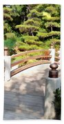 A Japanese Garden Bridge From Sun To Shade Beach Towel