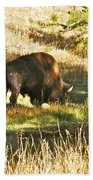 A Lone Bison In Yellowstone 9467 Beach Towel