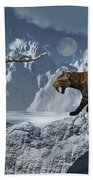 A Lone Sabre-toothed Tiger In A Cold Beach Towel