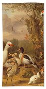 A Macaw - Ducks - Parrots And Other Birds In A Landscape Beach Towel