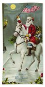 A Merry Christmas Card Of Santa Riding A White Horse Beach Towel