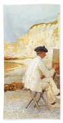 A Painter By The Sea Side Beach Towel