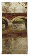 A River Landscape With A Bridge  Beach Towel