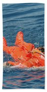 A Sailor Rescued By A Diver Beach Towel by Stocktrek Images