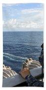 A Sailor Stands Forward Lookout Watch Beach Towel