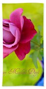 A Single Rose II Mother's Day Card Beach Towel