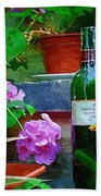 A Sip Of Wine Beach Towel by Amanda Moore