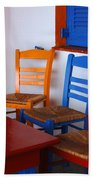 Colorful Table And Chairs Greece Beach Towel