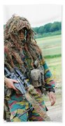 A Sniper Of The Belgian Army Together Beach Towel