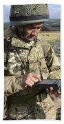 A Soldier Inputs The Firing Data Beach Towel